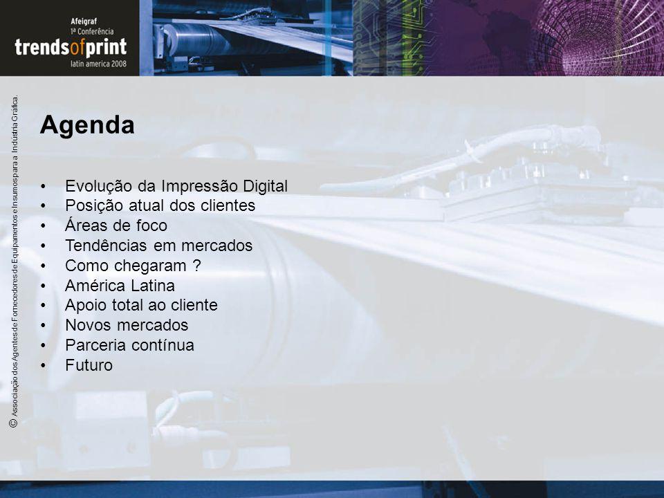 Agenda Evolução da Impressão Digital Posição atual dos clientes Áreas de foco Tendências em mercados Como chegaram ? América Latina Apoio total ao cli