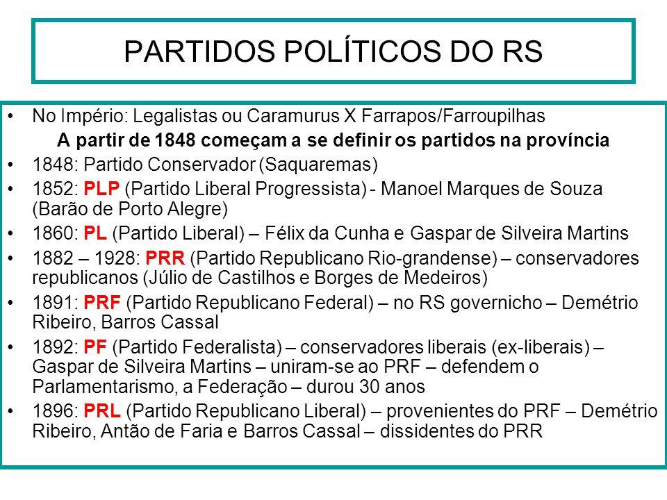 PARTIDOS POLÍTICOS DO RS No Império: Legalistas ou Caramurus X Farrapos/Farroupilhas A partir de 1848 começam a se definir os partidos na província 18