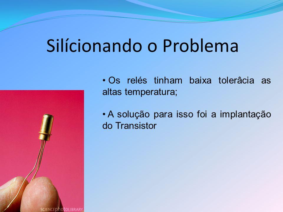 Silícionando o Problema Os relés tinham baixa tolerâcia as altas temperatura; A solução para isso foi a implantação do Transistor