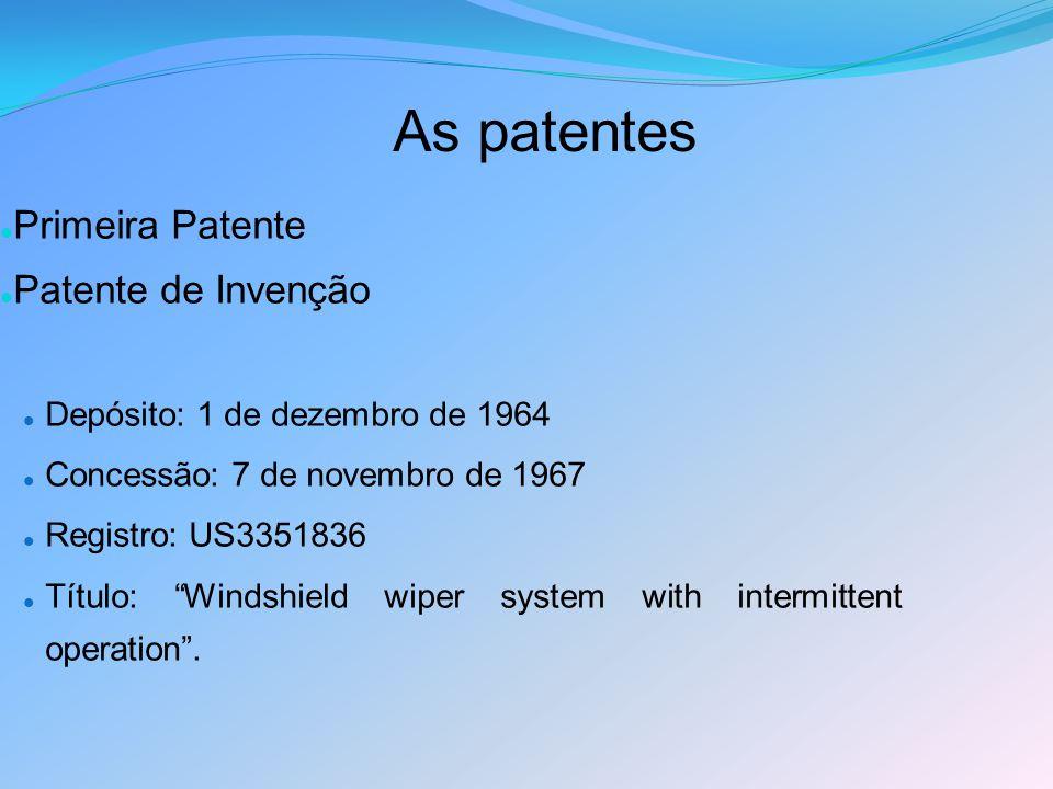 As patentes 27/06/1227/06/12 Primeira Patente Patente de Invenção Depósito: 1 de dezembro de 1964 Concessão: 7 de novembro de 1967 Registro: US3351836