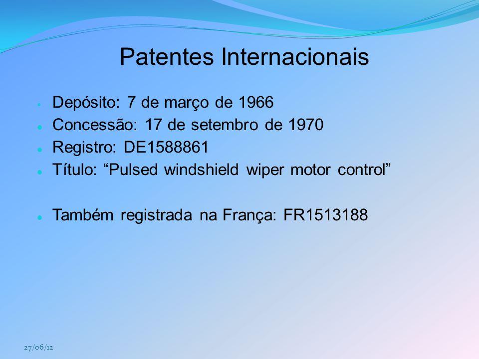 """Patentes Internacionais Depósito: 7 de março de 1966 Concessão: 17 de setembro de 1970 Registro: DE1588861 Título: """"Pulsed windshield wiper motor cont"""