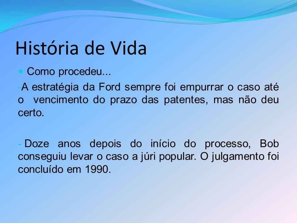 História de Vida Como procedeu... - A estratégia da Ford sempre foi empurrar o caso até o vencimento do prazo das patentes, mas não deu certo. - Doze