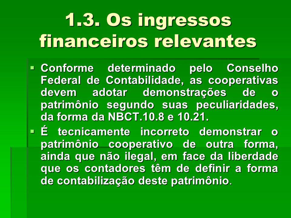 1.3. Os ingressos financeiros relevantes  Conforme determinado pelo Conselho Federal de Contabilidade, as cooperativas devem adotar demonstrações de