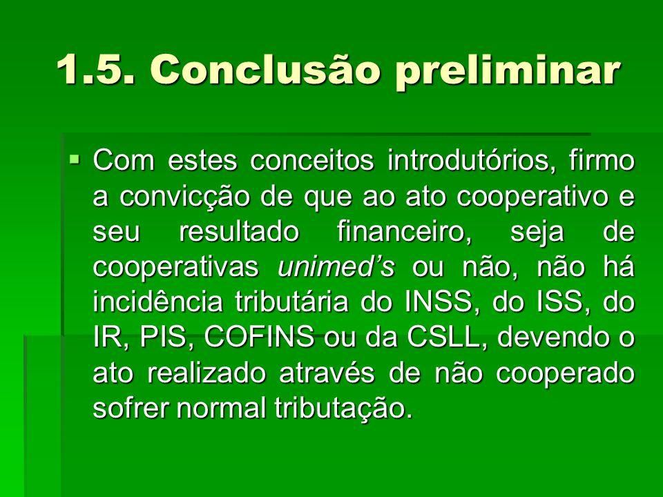 1.5. Conclusão preliminar  Com estes conceitos introdutórios, firmo a convicção de que ao ato cooperativo e seu resultado financeiro, seja de coopera