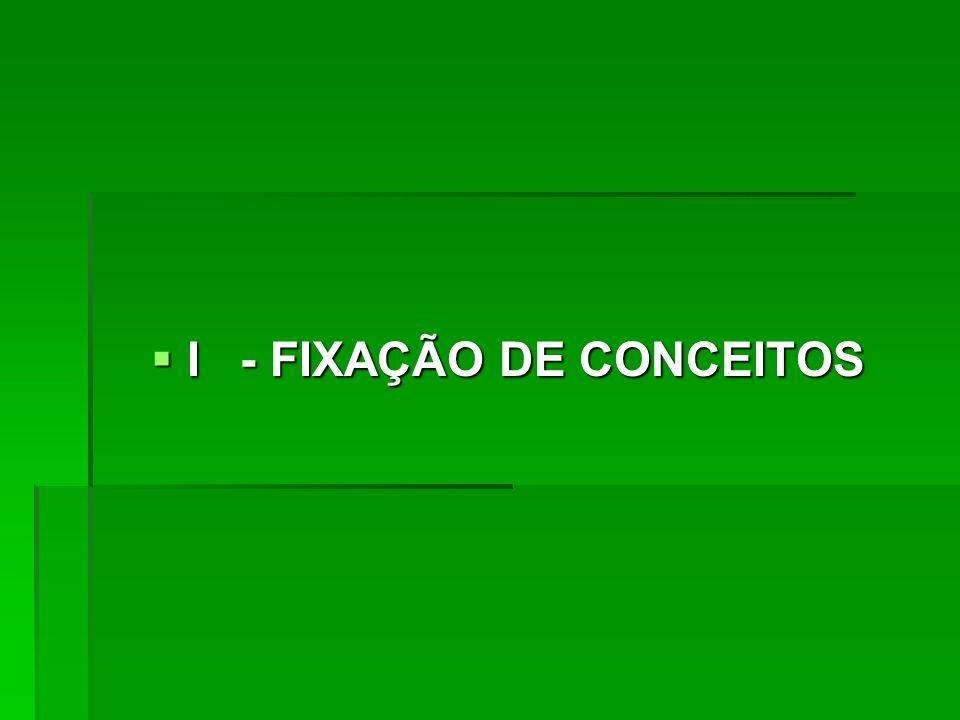  I - FIXAÇÃO DE CONCEITOS