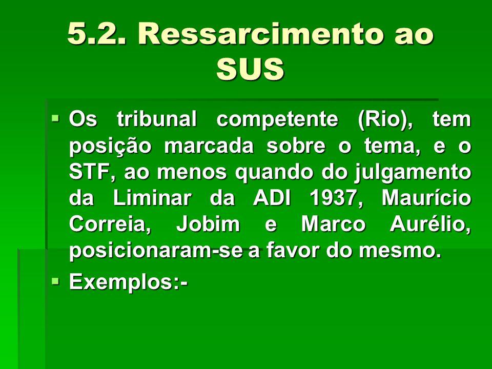 5.2. Ressarcimento ao SUS  Os tribunal competente (Rio), tem posição marcada sobre o tema, e o STF, ao menos quando do julgamento da Liminar da ADI 1