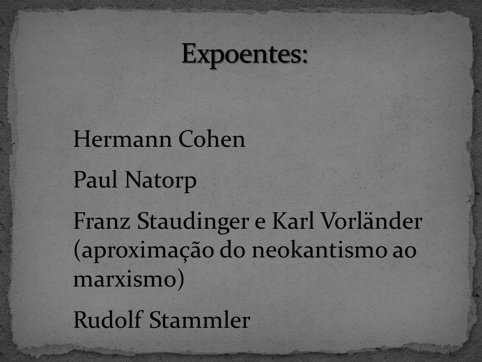 Hermann Cohen Paul Natorp Franz Staudinger e Karl Vorländer (aproximação do neokantismo ao marxismo) Rudolf Stammler