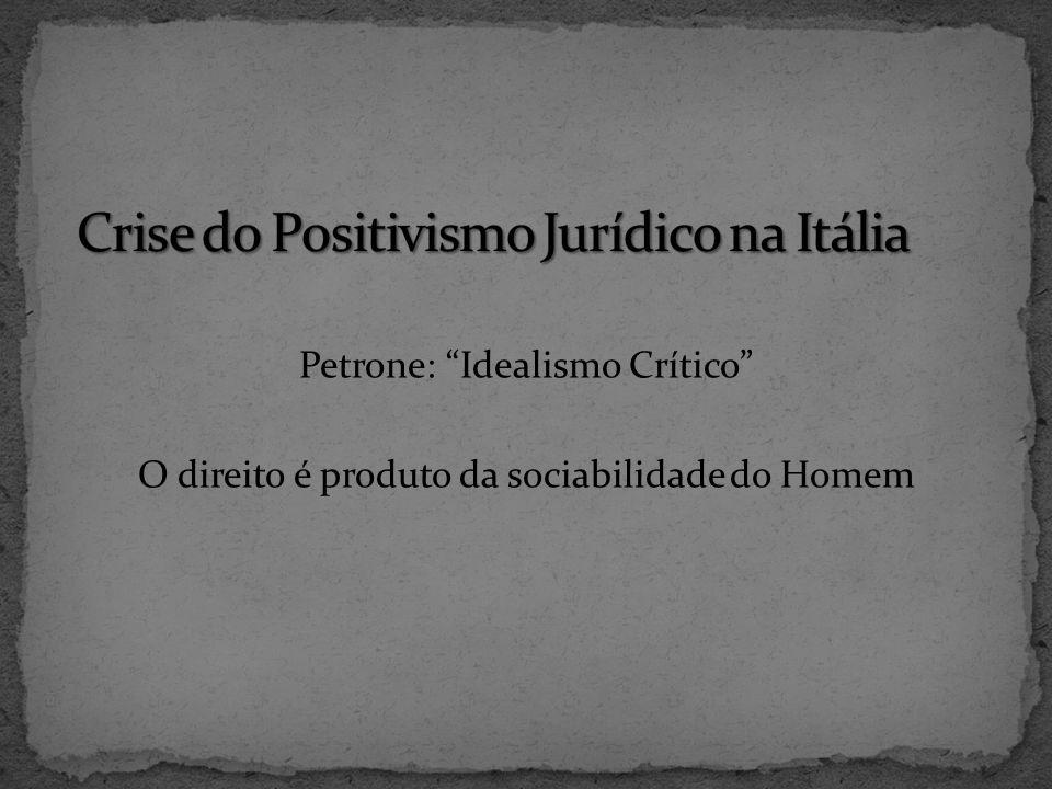 Petrone: Idealismo Crítico O direito é produto da sociabilidade do Homem