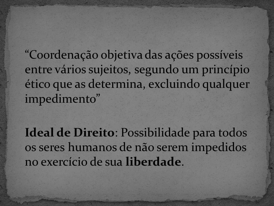 Coordenação objetiva das ações possíveis entre vários sujeitos, segundo um princípio ético que as determina, excluindo qualquer impedimento Ideal de Direito: Possibilidade para todos os seres humanos de não serem impedidos no exercício de sua liberdade.