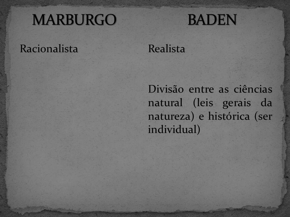 RacionalistaRealista Divisão entre as ciências natural (leis gerais da natureza) e histórica (ser individual)