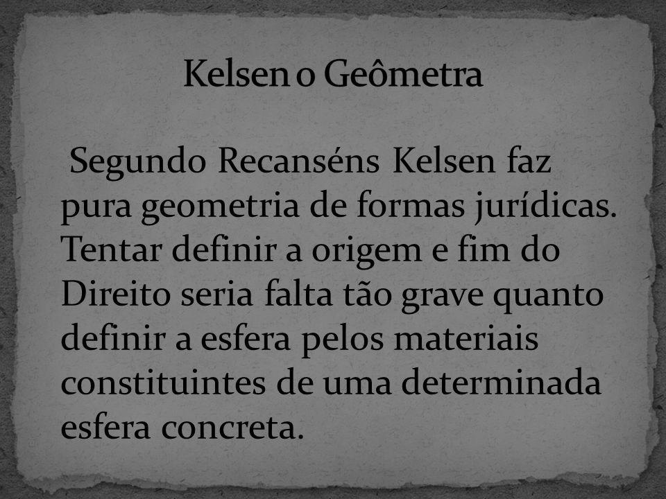 Segundo Recanséns Kelsen faz pura geometria de formas jurídicas.