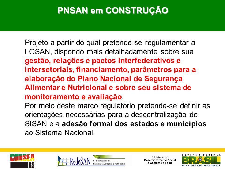 PNSAN em CONSTRUÇÃO Projeto a partir do qual pretende-se regulamentar a LOSAN, dispondo mais detalhadamente sobre sua gestão, relações e pactos interf