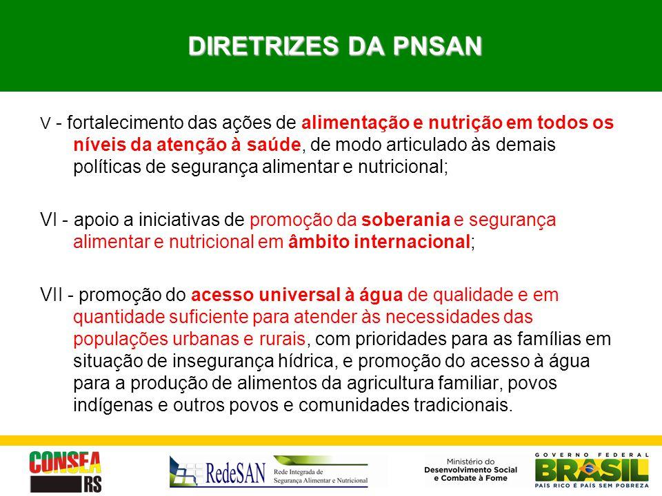 DIRETRIZES DA PNSAN DIRETRIZES DA PNSAN V - fortalecimento das ações de alimentação e nutrição em todos os níveis da atenção à saúde, de modo articula