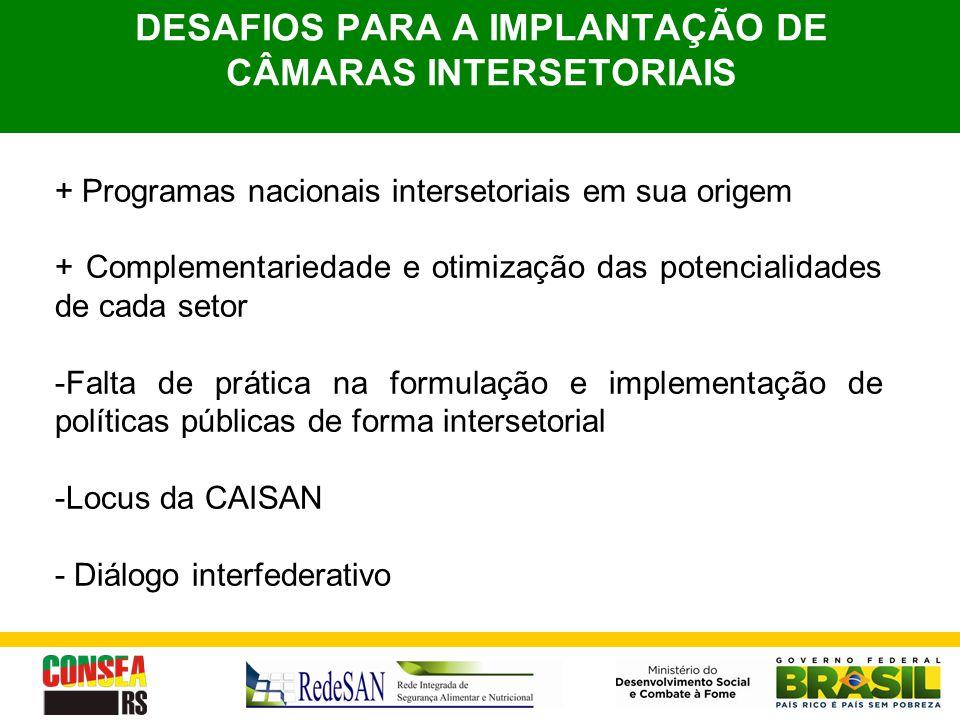 DESAFIOS PARA A IMPLANTAÇÃO DE CÂMARAS INTERSETORIAIS + Programas nacionais intersetoriais em sua origem + Complementariedade e otimização das potenci