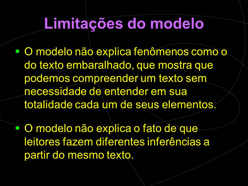 Limitações do modelo  O modelo não explica fenômenos como o do texto embaralhado, que mostra que podemos compreender um texto sem necessidade de entender em sua totalidade cada um de seus elementos.