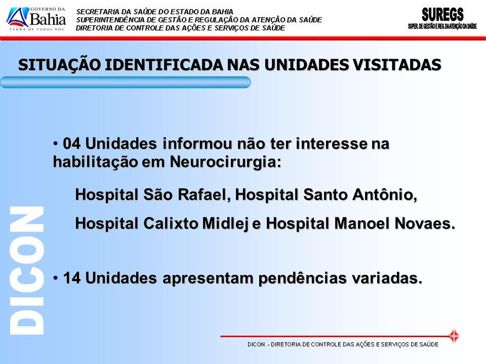 04 Unidades informou não ter interesse na 04 Unidades informou não ter interesse na habilitação em Neurocirurgia: Hospital São Rafael, Hospital Santo