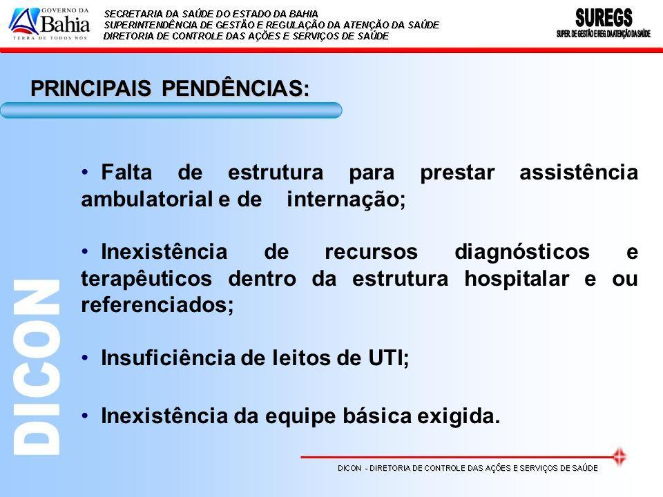 Falta de estrutura para prestar assistência ambulatorial e de internação; Inexistência de recursos diagnósticos e terapêuticos dentro da estrutura hos