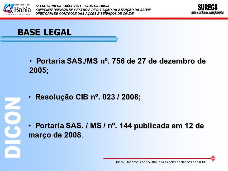 Portaria SAS./MS nº. 756 de 27 de dezembro de 2005; Portaria SAS./MS nº. 756 de 27 de dezembro de 2005; Resolução CIB nº. 023 / 2008; Resolução CIB nº