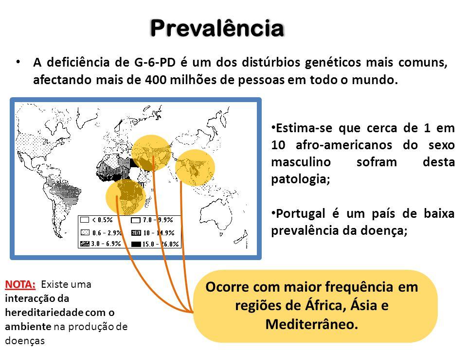 A deficiência de G-6-PD é um dos distúrbios genéticos mais comuns, afectando mais de 400 milhões de pessoas em todo o mundo. Prevalência Estima-se que