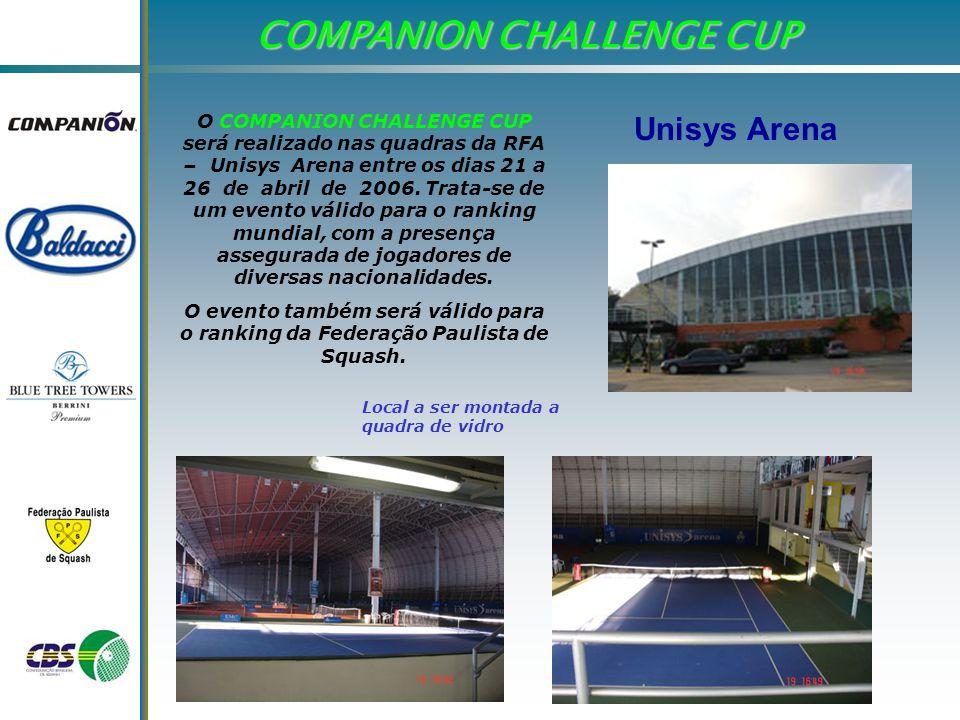 O COMPANION CHALLENGE CUP será realizado nas quadras da RFA – Unisys Arena entre os dias 21 a 26 de abril de 2006.
