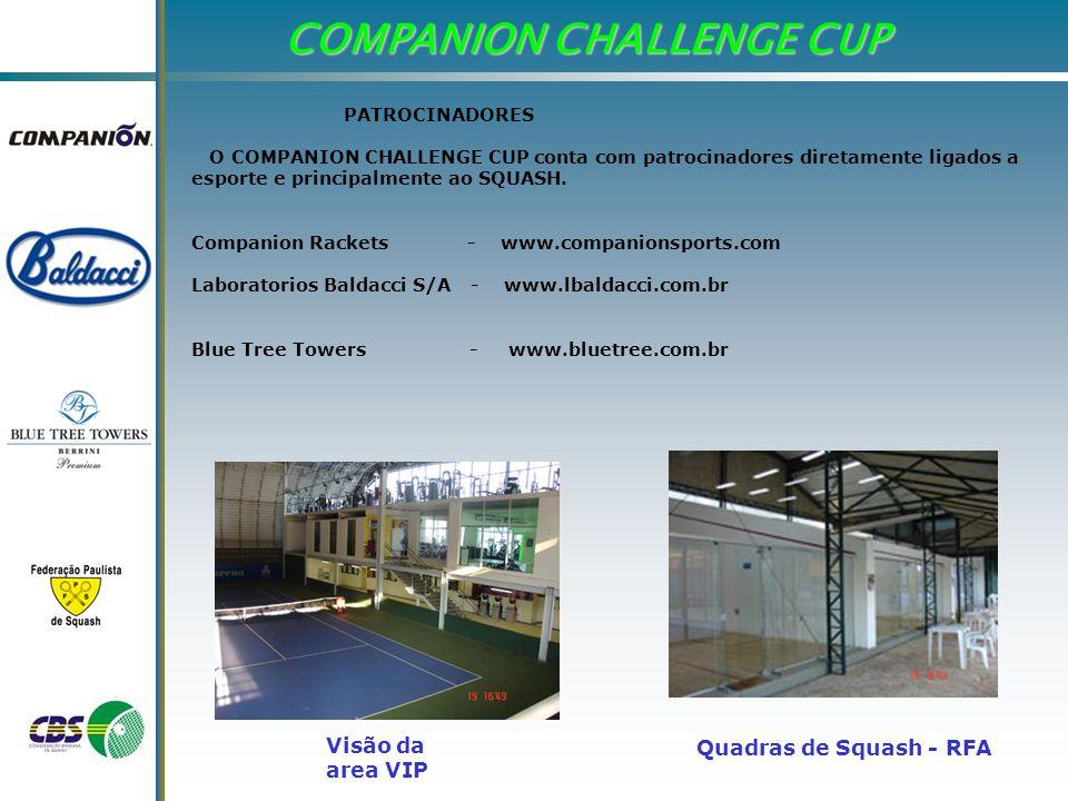 COMPANION CHALLENGE CUP PATROCINADORES O COMPANION CHALLENGE CUP conta com patrocinadores diretamente ligados a esporte e principalmente ao SQUASH.