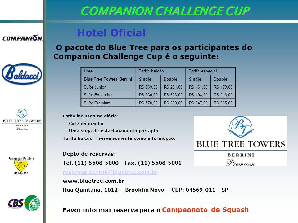 COMPANION CHALLENGE CUP O pacote do Blue Tree para os participantes do Companion Challenge Cup é o seguinte: Hotel Oficial HotelTarifa balcãoTarifa especial Blue Tree Towers BerriniSingleDoubleSingleDouble Suíte JuniorR$ 269,00R$ 291,00R$ 161,00R$ 179,00 Suíte ExecutivaR$ 330,00R$ 353,00R$ 198,00R$ 216,00 Suíte PremiumR$ 578,00R$ 600,00R$ 347,00R$ 365,00 Estão inclusos na diária: = Café da manhã = Uma vaga de estacionamento por apto.