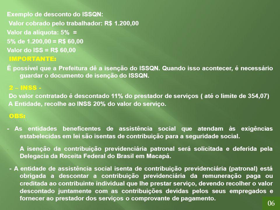 Exemplo de desconto do ISSQN: Valor cobrado pelo trabalhador: R$ 1.200,00 Valor da alíquota: 5% = 5% de 1.200,00 = R$ 60,00 Valor do ISS = R$ 60,00 IM