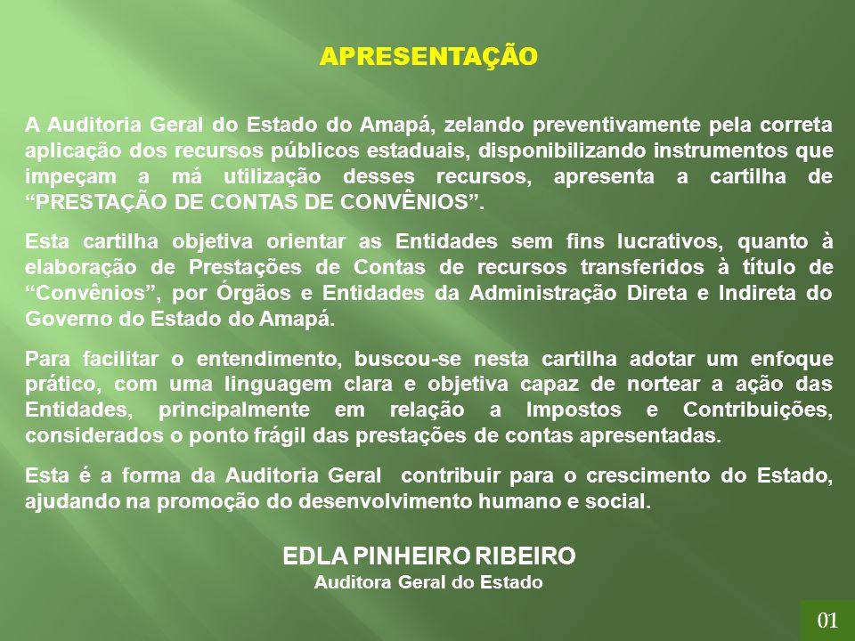 APRESENTAÇÃO A Auditoria Geral do Estado do Amapá, zelando preventivamente pela correta aplicação dos recursos públicos estaduais, disponibilizando in