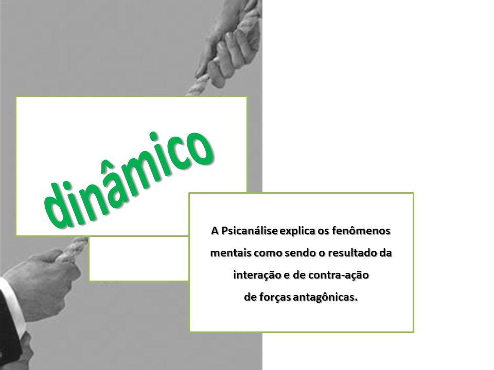 A Psicanálise explica os fenômenos mentais como sendo o resultado da interação e de contra-ação de forças antagônicas.