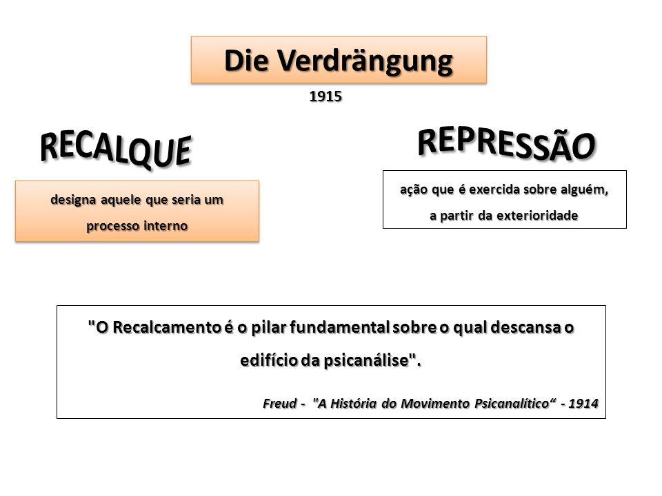 Die Verdrängung 1915 ação que é exercida sobre alguém, a partir da exterioridade designa aquele que seria um processo interno