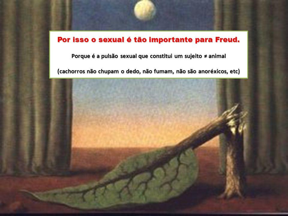 Por isso o sexual é tão importante para Freud. Porque é a pulsão sexual que constitui um sujeito ≠ animal (cachorros não chupam o dedo, não fumam, não