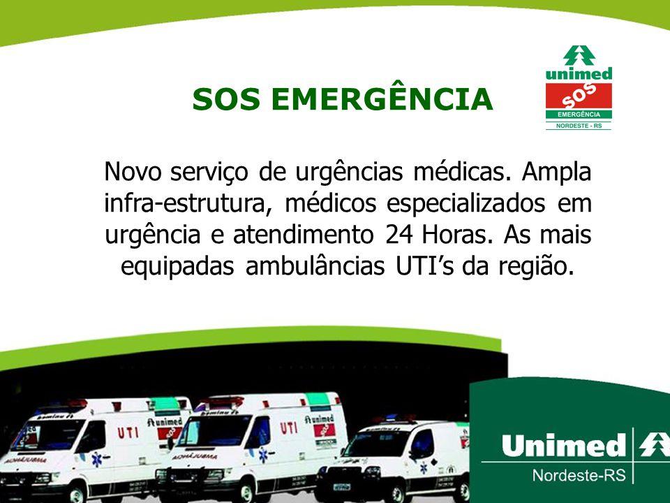 SOS EMERGÊNCIA Novo serviço de urgências médicas. Ampla infra-estrutura, médicos especializados em urgência e atendimento 24 Horas. As mais equipadas