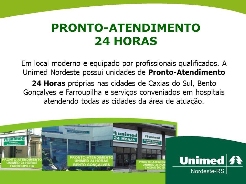 PRONTO-ATENDIMENTO 24 HORAS Em local moderno e equipado por profissionais qualificados. A Unimed Nordeste possui unidades de Pronto-Atendimento 24 Hor