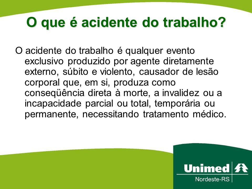 O que é acidente do trabalho? O acidente do trabalho é qualquer evento exclusivo produzido por agente diretamente externo, súbito e violento, causador