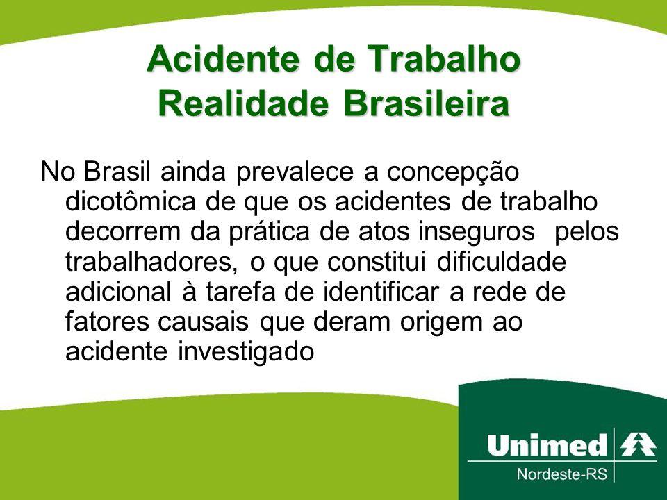 Acidente de Trabalho Realidade Brasileira No Brasil ainda prevalece a concepção dicotômica de que os acidentes de trabalho decorrem da prática de atos
