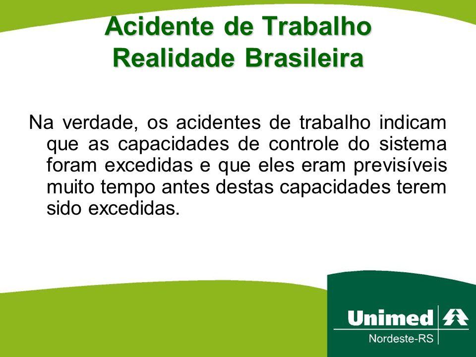 Acidente de Trabalho Realidade Brasileira Na verdade, os acidentes de trabalho indicam que as capacidades de controle do sistema foram excedidas e que