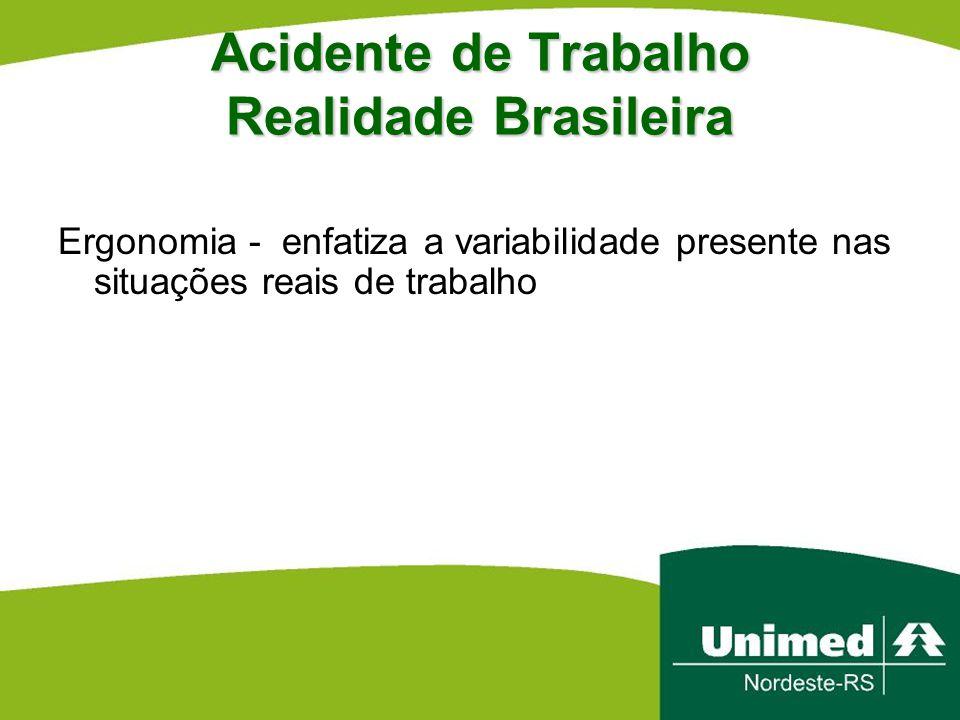 Acidente de Trabalho Realidade Brasileira Ergonomia - enfatiza a variabilidade presente nas situações reais de trabalho