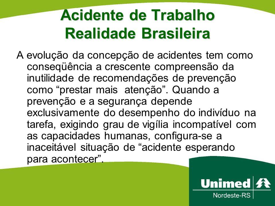 Acidente de Trabalho Realidade Brasileira A evolução da concepção de acidentes tem como conseqüência a crescente compreensão da inutilidade de recomen