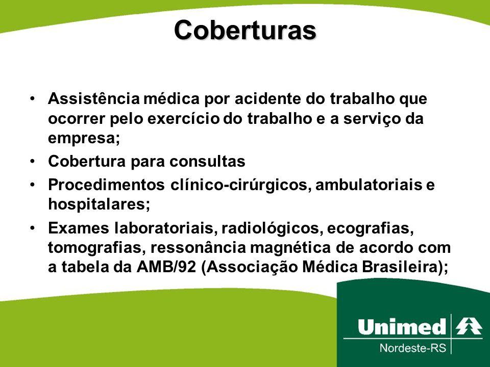 Coberturas Assistência médica por acidente do trabalho que ocorrer pelo exercício do trabalho e a serviço da empresa; Cobertura para consultas Procedi