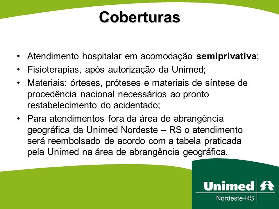 Coberturas Atendimento hospitalar em acomodação semiprivativa; Fisioterapias, após autorização da Unimed; Materiais: órteses, próteses e materiais de