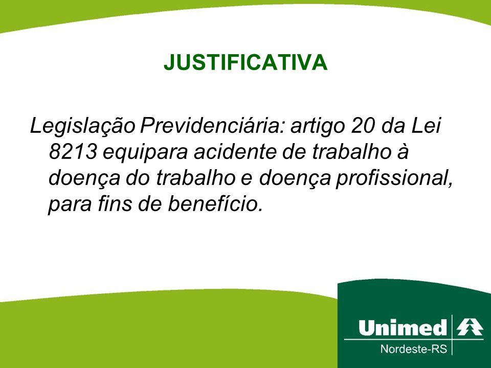 JUSTIFICATIVA Legislação Previdenciária: artigo 20 da Lei 8213 equipara acidente de trabalho à doença do trabalho e doença profissional, para fins de