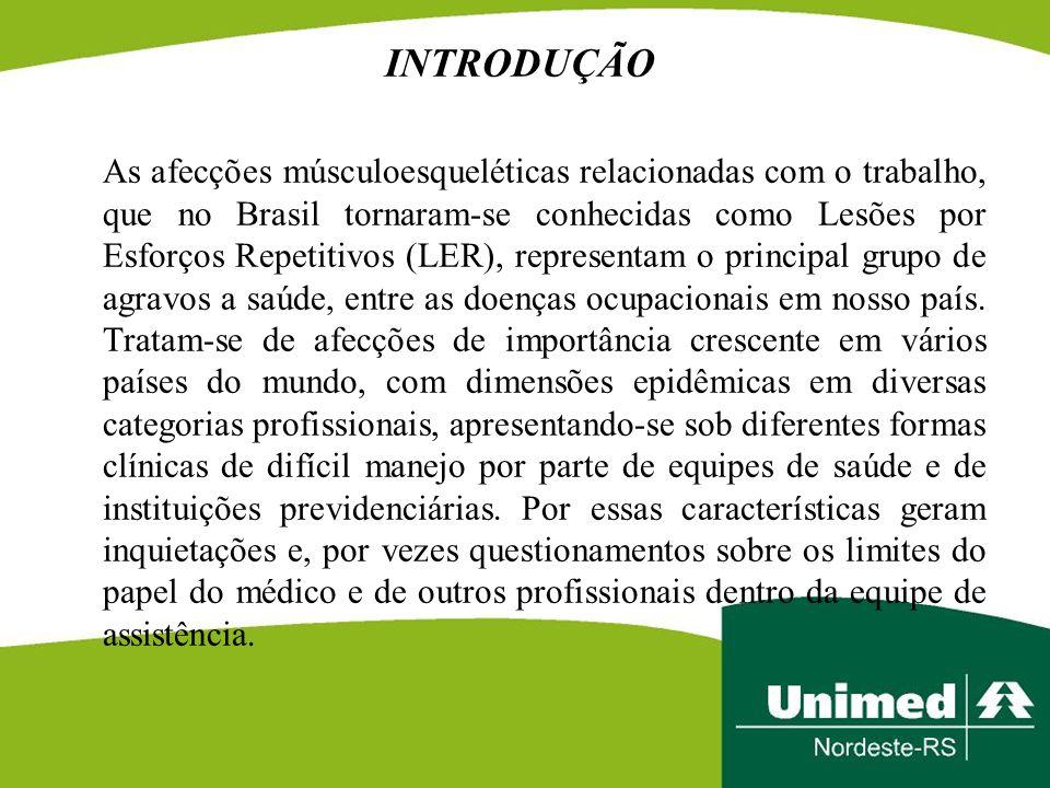 INTRODUÇÃO As afecções músculoesqueléticas relacionadas com o trabalho, que no Brasil tornaram-se conhecidas como Lesões por Esforços Repetitivos (LER