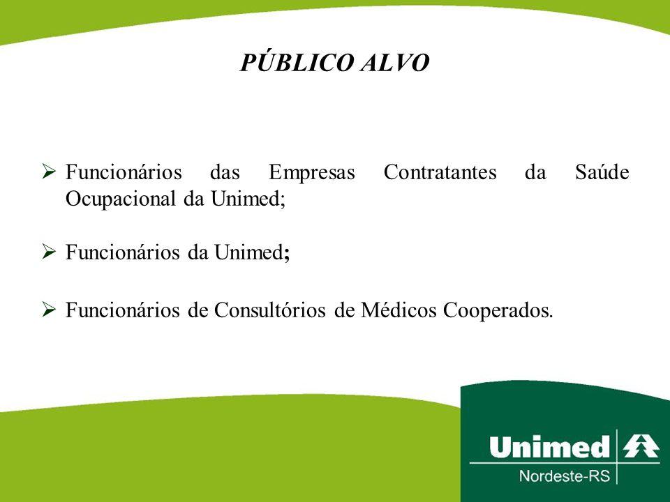 PÚBLICO ALVO  Funcionários das Empresas Contratantes da Saúde Ocupacional da Unimed;  Funcionários da Unimed;  Funcionários de Consultórios de Médi