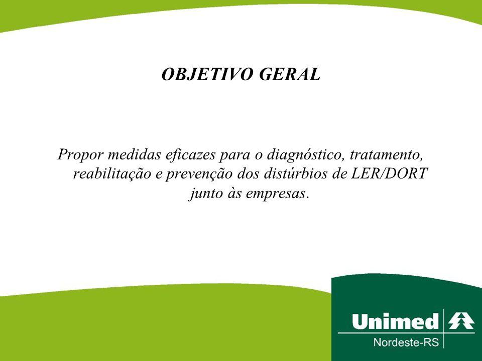 OBJETIVO GERAL Propor medidas eficazes para o diagnóstico, tratamento, reabilitação e prevenção dos distúrbios de LER/DORT junto às empresas.