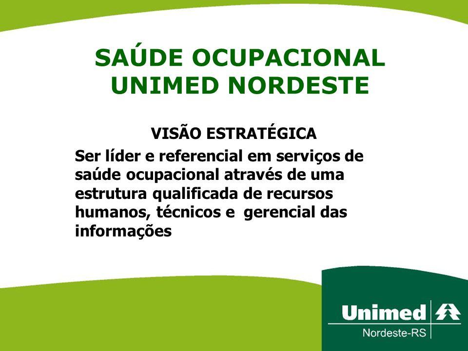 SAÚDE OCUPACIONAL UNIMED NORDESTE VISÃO ESTRATÉGICA Ser líder e referencial em serviços de saúde ocupacional através de uma estrutura qualificada de r