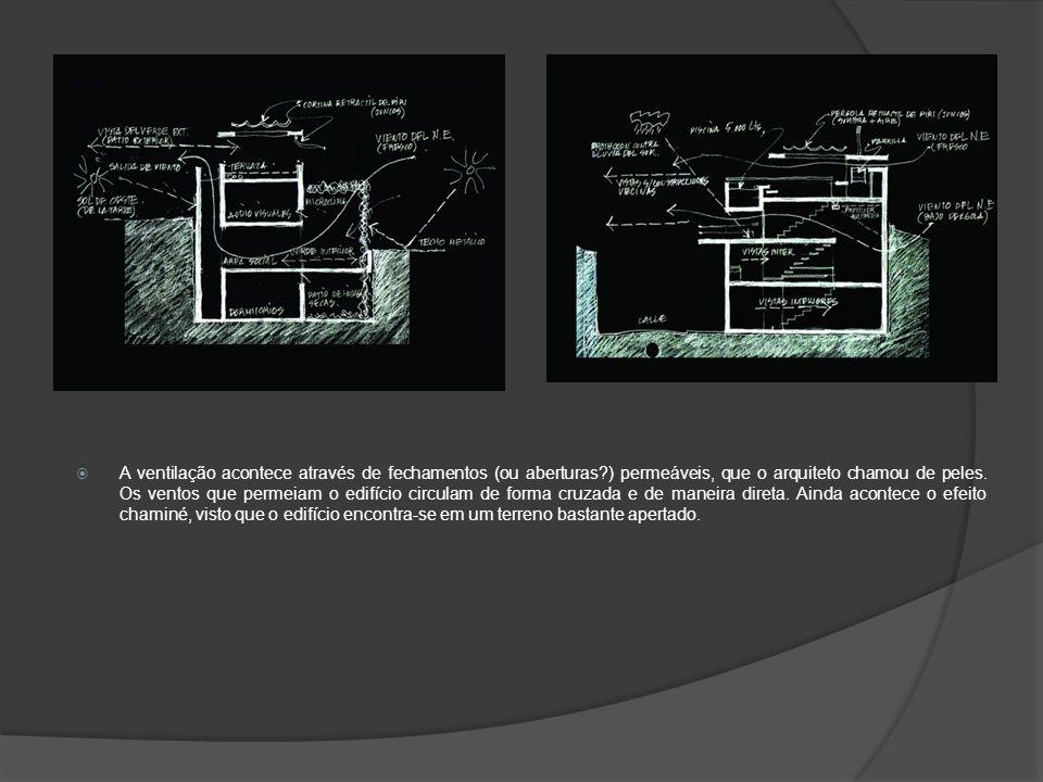  A ventilação acontece através de fechamentos (ou aberturas?) permeáveis, que o arquiteto chamou de peles.