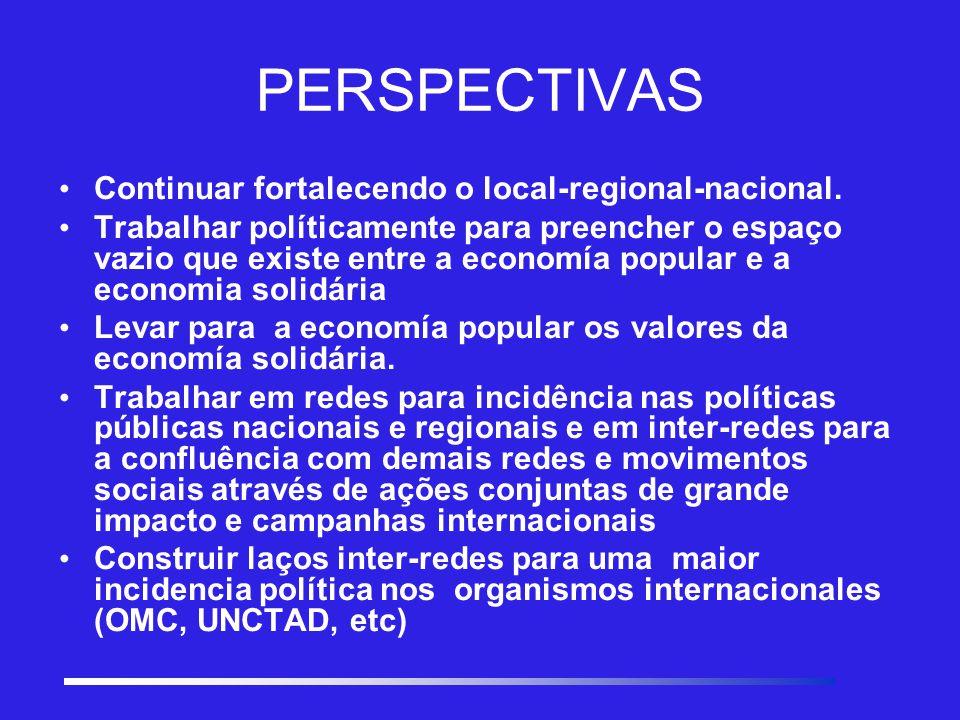 PERSPECTIVAS C ontinuar fortalecendo o local-regional-nacional.