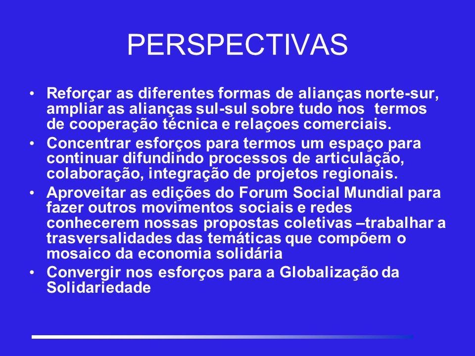 PERSPECTIVAS Reforçar as diferentes formas de alianças norte-sur, ampliar as alianças sul-sul sobre tudo nos termos de cooperação técnica e relaçoes comerciais.