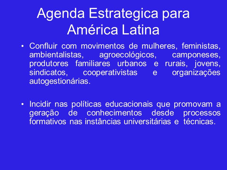 Agenda Estrategica para América Latina Confluir com movimentos de mulheres, feministas, ambientalistas, agroecológicos, camponeses, produtores familiares urbanos e rurais, jovens, sindicatos, cooperativistas e organizações autogestionárias.
