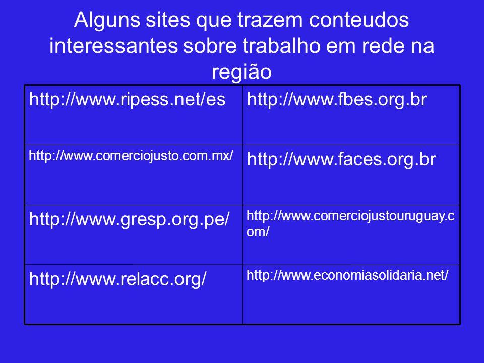 Alguns sites que trazem conteudos interessantes sobre trabalho em rede na região http://www.economiasolidaria.net/ http://www.relacc.org/ http://www.comerciojustouruguay.c om/ http://www.gresp.org.pe/ http://www.faces.org.br http://www.comerciojusto.com.mx/ http://www.fbes.org.brhttp://www.ripess.net/es